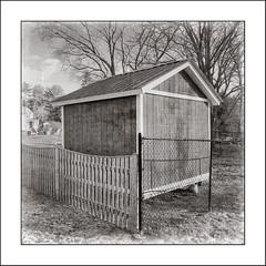 Cornered (Timothy Valentine) Tags: blackandwhite large shed hipstamatic friday 2019 0219 fence eastbridgewater massachusetts unitedstatesofamerica us