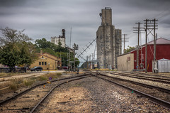 Grain elevators and railroad tracks (donnieking1811) Tags: kansas abilene grainelevators railroadtracks outdoors sky clouds hdr canon 60d lightroom photomatixpro