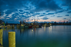 _MGL2910 Another day dawns on the fishing fleet (Leeds Lad at heart) Tags: australia queensland sunshinecoast mooloolaba river trawlers boats ships pier quay sky sunrise clouds water night dawn