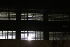 Night Shoot, 84 (doojohn701) Tags: windows lights ceiling scaffholding fence dusk dark night reflection shadow floodlamp klinger sidcup uk