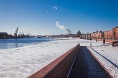 Lines of February Shadows - Линии февральских теней (Valery Parshin) Tags: russia saintpetersburg canoneos600d canonefs24mmf28stm blue neva river water winter ice sky stpetersburg snow
