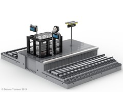 Platform glass box (Odense Banegård) (dennis.tomsen) Tags: module lego moc odense banegård design platform ldd train station track legodigitaldesigner studio render building railroad glassbox smoking