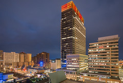 Target Corporation Headquarters, Minneapolis, MN (Chad Davis.) Tags: architecture cityscape colors downtownminneapolis lights longexposure minneapolis minnesota rooftop sign target targetplaza targetplazasouth targetstores wcco