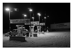 Petrol (Robert Drozda) Tags: watsonlake yukonterritory canada alaskahighway petrol gasoline station gbfuels tags truck trailer toyotatacoma dark morning snow winter fbxtopdx2018 drozda