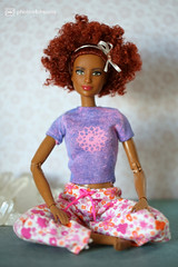new flowery t-shirt (photos4dreams) Tags: barbie regularlifeinthedollhouse doll photos4dreams p4d photos4dreamz toy puppe dress mattel barbies girl play fashion fashionistas outfit kleider mode puppenstube tabletopphotography aa ken africanamerican canoneos5dmark3 yoga upgradedtshirt diy