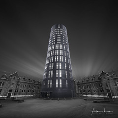 Big Brother is Watching You (Alec Lux) Tags: bw bnw charleroi hdr architecture art belgium blackandwhite brick bricks city cityscape exterior facade fineart haida haidafilters linear lines longexposure modern office offices outdoor police round station symmetry trails urban