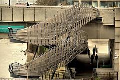 Stairwell (Croydon Clicker) Tags: stairs steps stairwell metal cage footpath pathway people pedestrians river water thames bridge londonbridge london cityoflondon