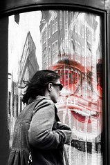 sunglasses (nika.vero) Tags: sunglasses experimental blackwhitered person city citysnap london reflection architecture building experiment