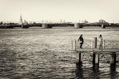 Evening on the Neva. Episode # 571 - Вечер на Неве. Эпизод №571 (Valery Parshin) Tags: russia saintpetersburg mczenitarc1250s canoneos70d twilight two river bridge monochrome blackandwhite 50mm manuallens