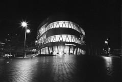 night walk in Stuttgart (andreasmaurer89) Tags: leicam3 leica m3 ilford panf iso50 voigtländercolorskopar21mmf4 voigtländer 21mm f16 f22 night blackandwhite rodinal rodinal1100 longtermexposure film analog schwarzweis monocrom stuttgart badcannstatt mercedesbenzmuseum mercedes