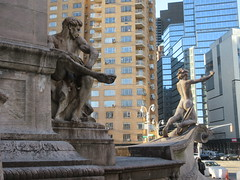 2019 USS Maine Monument Columbus Circle NYC 2277 (Brechtbug) Tags: uss maine monument 1913 beaux arts commemorate controversial sinking battleship 1898 the ship has sculpted representations mythological figures victory peace courage fortitude justice central park entrance nyc 02192019 new york city arms wrapping around rock statue sculpture february 2019 columbus circle