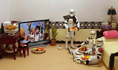 Getting Picky on the Death Star (ChicaD58) Tags: dscf7314c starwarsactionfigure actinofigure stormtrooper clonetrooper stormtrooperbruce stb tk1110 tk432 breakfastfordinner frenchtoast belgianwaffles pancakes eggs bacon sausage stickybuns fruitplate coffee milk tv plant bed pillow endtable lamp mug tissue fairydust coffeemaker commemorativedarthbottleofscotch