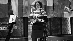 Event Horizon March 2019 012 (byronv2) Tags: woman author writer books reading literature literary sciencefiction stage portrait shorelineofinfinity eventhorizon edinburgh edimbourg scotland georgeivbridge frankensteins blackandwhite blackwhite bw monochrome