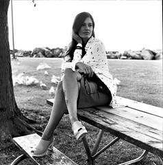 Portrait of Kate K 2 (neohypofilms) Tags: series portrait girl woman female vintage retro style fashion classic legs skirt hair heels mules clogs bw blackandwhite 120 medium format film hasselblad analog photography