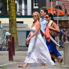 Hurry up !! (merle1980) Tags: amsterdam streetview candid women woman clothes grachten uitgaan opschieten fashion lovely girls colors legs glamour outfit nikon d7100