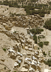 Aerial View Over Houses In An Oasis, Wadi Doan, Yemen (Eric Lafforgue) Tags: agricultural agriculture agroeconomy apartment arabia arabiafelix arabianpeninsula area building city cityview colourpicture day hadhramaut hadhramawt hadhramout hadramaout hadramawt highangleshot highspot landscape mudbrick nobody nopeople ochre overlook palmtree placeofinterest primoseyellow region sand sienna territory topography vertical village wadidawan wadidoan yemen mg57782