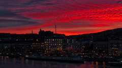 Red sunset above the hills (BenedekM) Tags: hungary budapest city sunset red nikond3200 nikkor50mmf18 clouds cloudy buildings architecture hills danube river hungarian