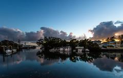 Creek Sunrise (markjones bris) Tags: creek water boats sunrise clouds reflections fishingboats wynnum