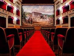 Show business (Paco CT) Tags: construccion construction inside interior teatro indoor theater agrigento sicily italy sicilia italia red seat
