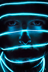 The Prisoner (jorgesarrion) Tags: prisoner prisionero carcel jail alma neon luz azul bluelight light luzazul me yo jorgesarrion metafora lineas cara ojos eye head cabeza noise nariz mouse boca labios beard barba mejillas cool nice good