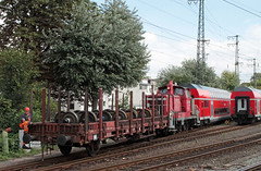 The daily grind (Schwanzus_Longus) Tags: bahn bremen bundesbahn car cargo central coupling ddr deutsche diesel drive east engine freight gdr german germany loco locomotive railroad railway red road rod stake station switcher track tracks train trains vintage v60 old classic
