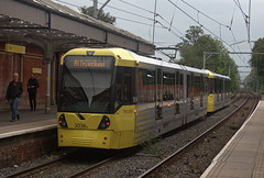 """Manchester Metrolink Bombardier """"Flexity Swift"""" M-5000 type No.3036A Sale tram station on 5 Oct 2018 (Trains and trams eveywhere) Tags: manchester metrolink tram localtransport electric flexityswift m5000 bombardier sale"""