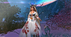 The Sky Gets Dimmer And Your Light Shows, Feral Heart (Hanna ☾ Luna) Tags: new event designershowcase virtualdiva loveless gown fantasy wolf queen flowers adventure roleplay deer winter kerli wild wanderlust