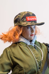 SuperMCToys MC-F076 Women's Street Style Flight Jacket Set (edwicks_toybox) Tags: 16scale gactoys tbleague baseballcap boots femaleactionfigure flightjacket headphones hoodie jacket leather magiccube phicen redhead seamlessbody tights