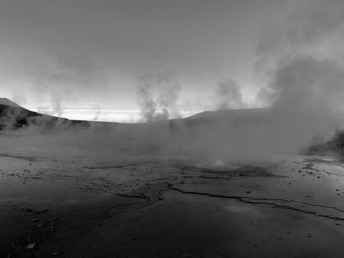 Sunrise at 4,321 meters (14,176.51 ft) above sea level, el Tatio Geothermal Field (Geysers), Calama, Chile.