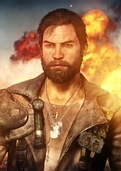 """""""Cool guys..."""" (you know) (L1netty) Tags: madmax avalanchestudios warnerbros pc game gaming pcgaming videogame reshade screenshot 6k srwe character max man male people portrait face beard jacket explosion sky dof color outdoor"""