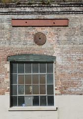 Braces, bricks and window panes (Monceau) Tags: metal building brace brick wall lines window panes glass warehouse district neworleans