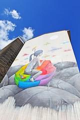 58 - ADRESSE : RUE ÉMILE DESLANDRES (mimi.deparis21) Tags: art streetart peinturemonumentale immeuble ciel girl parapluie poissons painting