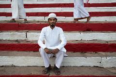 Red and White (lisacesari) Tags: nikond610 nikon portrait street stairs white red stripes india varanasi