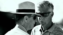 John W. Henry, Red Sox Owner and Dave Dombrowski, President of Baseball Operations (forestforthetress) Tags: baseball redsox bostonredsox springtraining jetbluepark fortmyers man hat bw blackandwhite people face outdoor