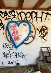 Poetry By Boots (cowyeow) Tags: salton graffiti painting art abandoned saltonsea old desert california usa america bombaybeach beach weird odd strange folkart wall white funny poem poetry love heart sad heartbreak