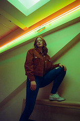yours truly (MarvinHrrr) Tags: ginger redhead beautiful woman girl actress model vancouver canada britishcolumbia neon lights film 35mm photography futuristic retro newwave converse jeans orangejacket cinestill 800t grain lines stripes spotmatic