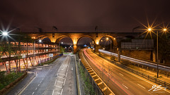 They Bridge The Faded Span (TVZ Photography) Tags: stockport viaduct manchester greatermanchester northwestengland m60 bridge road lighttrails cars city night evening longexposure lowlight sonya7riii zeiss loxia 21mm
