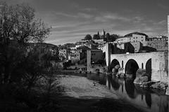 Besalú (Girona) (Artal B.) Tags: besalú girona catalunya blancoynegro blackwhite río pueblo agua árbol cielo