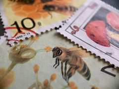 Stamps about my hobbies (BeaLeiderman) Tags: stamps china nepal bees mushrooms hobby macro monday macromonday philately insects