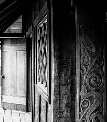 dragon cabin (Creativedabbler) Tags: cabin wood architecture design carved building rustic bnw blackandwhite monochrome