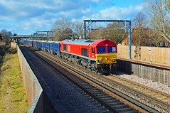 66074 is seen working the 11.07 Angerstein Wharf (Tarmac) to Woking Down Receiption yard through Abbey Wood on 7-2-19. Copyright Ian Cuthbertson (I C railway photo's) Tags: class66 shed 66074 abbeywood