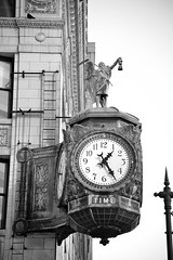 At this Point of Time, Father Time was looking for me. (James J. Novotny) Tags: time clock fathertime unlimitedphotos nikon d750 chicago citylife city cityofchicago bw buildings blackandwhite downtown