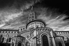 "god its a big bugger!! looking up at The Basilica of Saint-Sernin, Basilique Saint-Sernin, Toulouse, Haute-Garonne, Occitanie, France. Fine art black & white (grumpybaldprof) Tags: canon 80d ""canon80d"" tamron 16300 16300mm ""tamron16300mmf3563diiivcpzdb016"" bw blackwhite ""blackwhite"" ""blackandwhite"" noireetblanc monochrome ""fineart"" ethereal striking artistic interpretation impressionist stylistic style contrast shadow bright dark black white illuminated mood moody atmosphere atmospheric huge big toulouse hautegaronne occitanie france ""4thlargestfrenchcity"" tolosa airbus thales astrium ""southernfrance"" ""lagaronne"" ""garonneriver"" ""pinkcity"" ""basilicaofsaintsernin"" ""basiliquesaintsernin"" ""abbeyofsaintsernin"" ""stsaturnin"" ""1stbishopoftoulouse"" ""4thcentury"" ""stsylvius "" romanesque 1080 ""largestromanesquebuildingintheworld"" ""unescoworldheritagesite"" charlemagne ""760800"" pilgrimage carolignian 1860 ""eugèneviolletleduc"" ""simondemontfort"" ""killed1218"" ""bishoppierreroger"" ""straymondgayrard"""