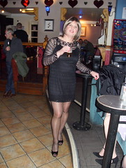 Manchester Feb 2009 sorry about the blur xx (janegeetgirl2) Tags: transvestite crossdresser crossdressing tgirl tv ts trans jane gee manchester canal street 2009 little black dress heels