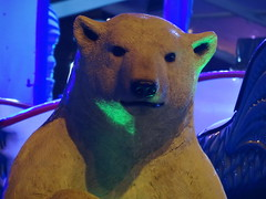 Polar Bear (LadyRaptor) Tags: ice cube millennium square leeds city centre yorkshire winter time wintertime attraction event ride rides funfair fun fair fairground polar bear sculpture statue figurine decoration ornament neon green fluorescent light
