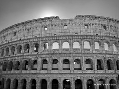 Colosseum (mswan777) Tags: coliseum stadium roman rome italy history world travel architecture arch round carving outdoor cityscape urban apple iphoneography iphone mobile monochrome black white sky