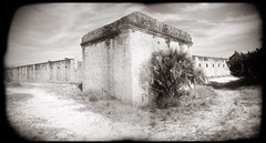 Ft. Clinch Holgarama (efo) Tags: bw holgarama incamera panorama fort brick beach holga film