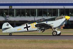 "Hispano HA-1112 M1L Buchon ""Yellow 10"" Historic Flying Ltd (Mark McEwan) Tags: hispano ha1112m1l buchon messerschmitt bf109 gbwue luftwaffe warbird edi edinburghairport edinburgh yellow10 aviation aircraft airplane historicflying"
