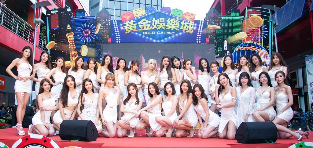 博弈手遊《黃金娛樂城》首度與亞洲男性第一品牌JKF女郎合作,活動會場粉絲爆棚。(黃金娛樂城提供)