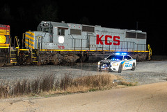 Blue Light Special (weshendrix) Tags: jackson mississippi ms train railfan rail fanning railroad rr freight local kcs kansas city southern high oak yard rails night police car vehicle sd50 emd diesel engine locomotive outdoor